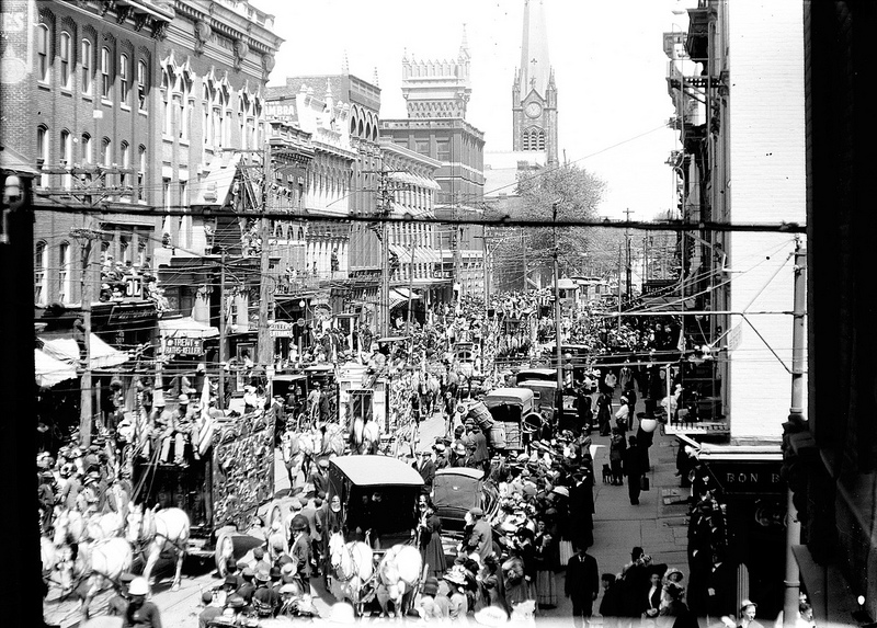 AL Opdyke_photo 1912 Parade in Trenton looking north to St Marys cathedral on North Warren Street