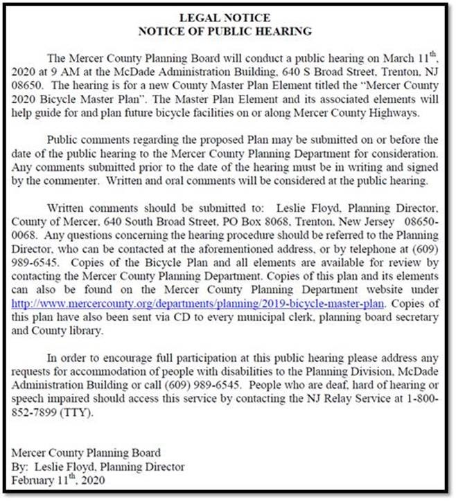 Public Notice - Mercer County 2020 Bicycle Master Plan